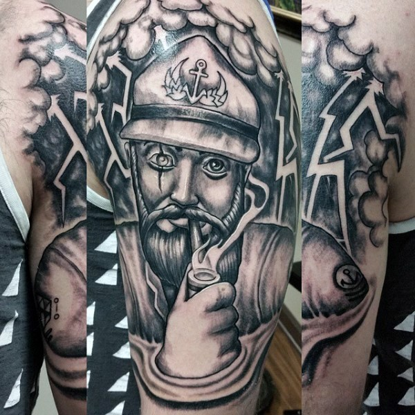 Funny painted black and white old smoking sailor tattoo on arm