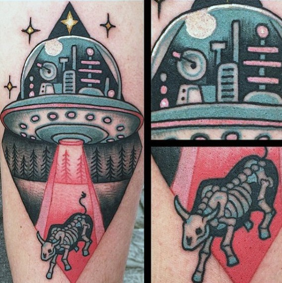 Funny painted cartoon like alien ship with X-Ray tattoo on arm