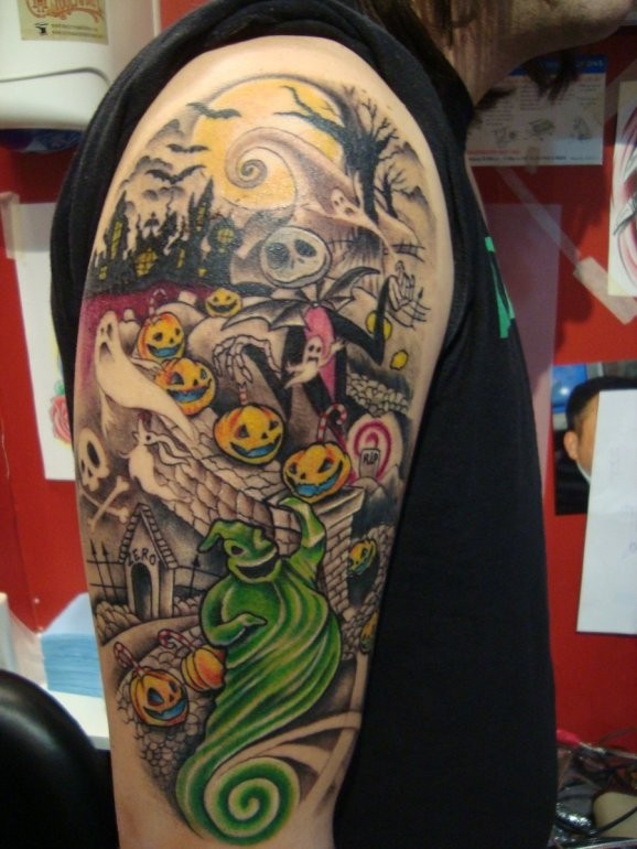Funny painted smiling cartoon monster on cemetery sleeve tattoo