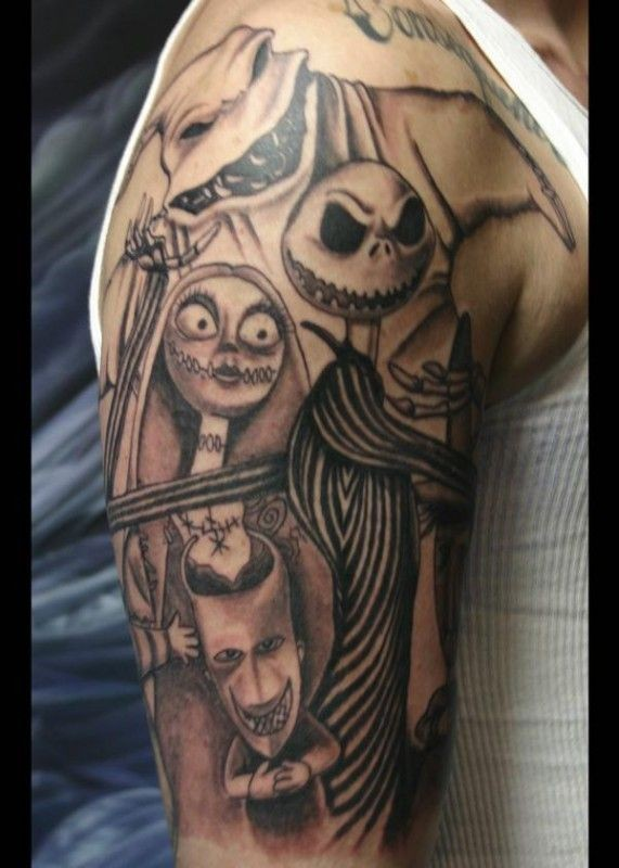 Funny realistic black and white monster creatures half sleeve tattoo