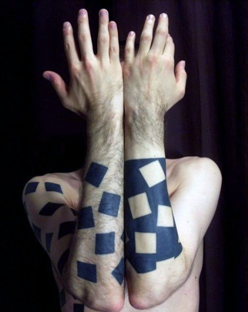 Funny simple designed black and white forearms tattoo of various squares