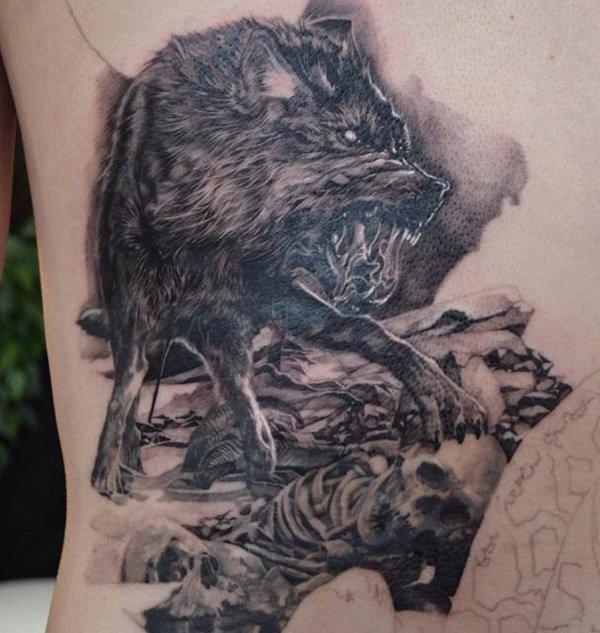 Furious crazy wolf on human remains dreadful detailed original tattoo