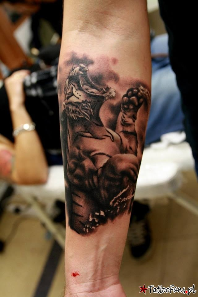 Furious roaring tiger forearm tattoo designed with shadows