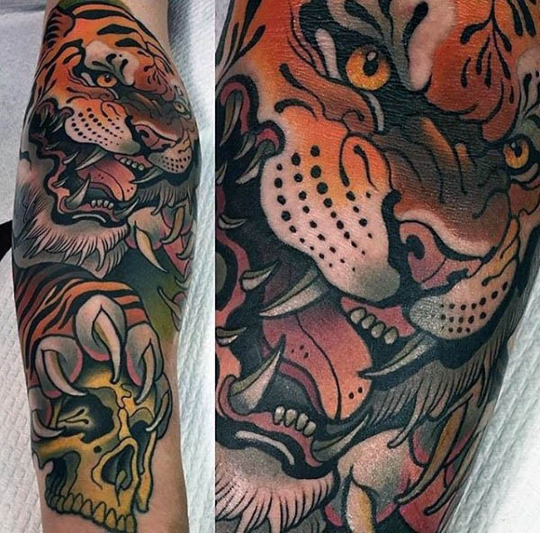 Furious roaring tiger with human skull in clutches old school naturally colored tattoo