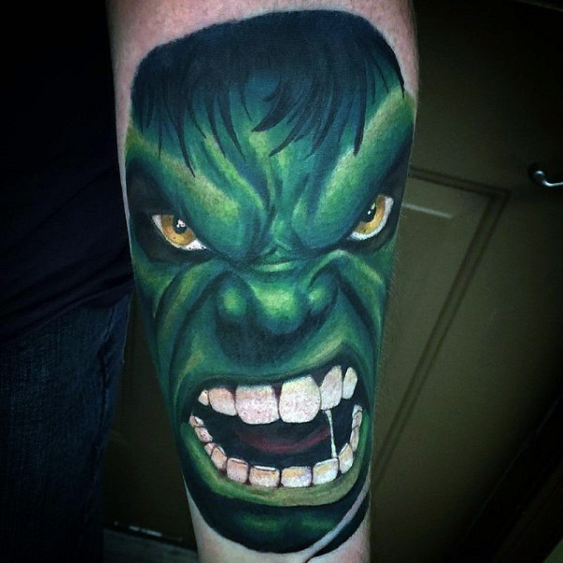 Furious traditionally colored Hulk&quots portrait with big white teeth detailed tattoo
