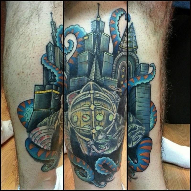 Futuristic colored leg muscle tattoo of big cite and octopus