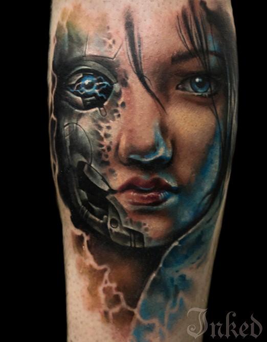 Futuristic illustrative style colored biomechanical woman portrait