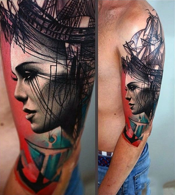 Futuristic style incredible looking woman portrait with ship and anchor on half sleeve area