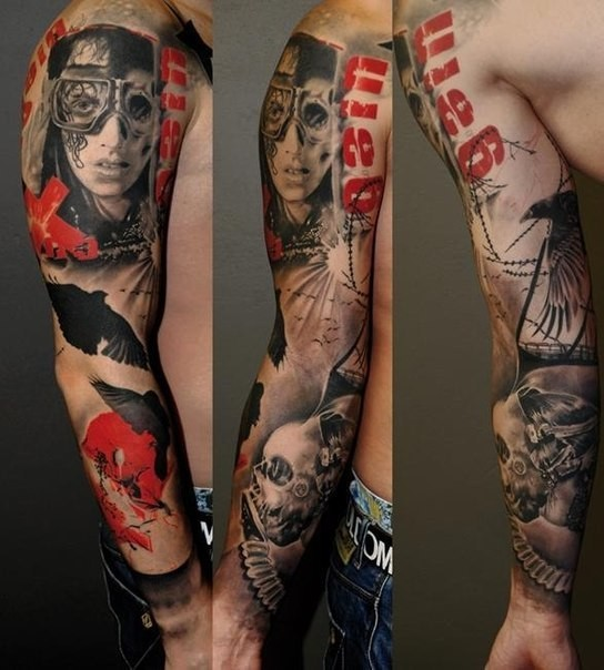 Futuristic style portrait with skull and crow colored 3D realistic sleeve tattoo with lettering