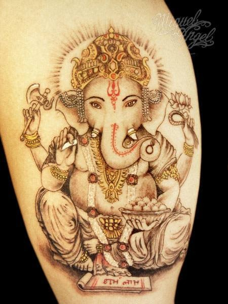 Ganesha and scroll with mantras tattoo by Miguel Angel
