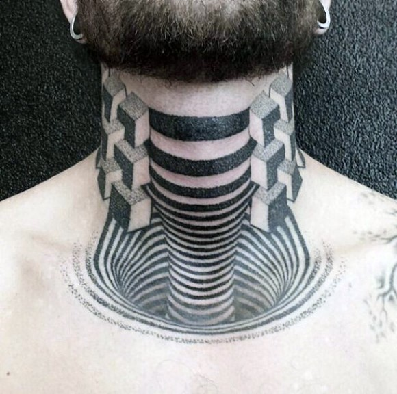 Geometrical style black and white neck tattoo of hypnotic ornament