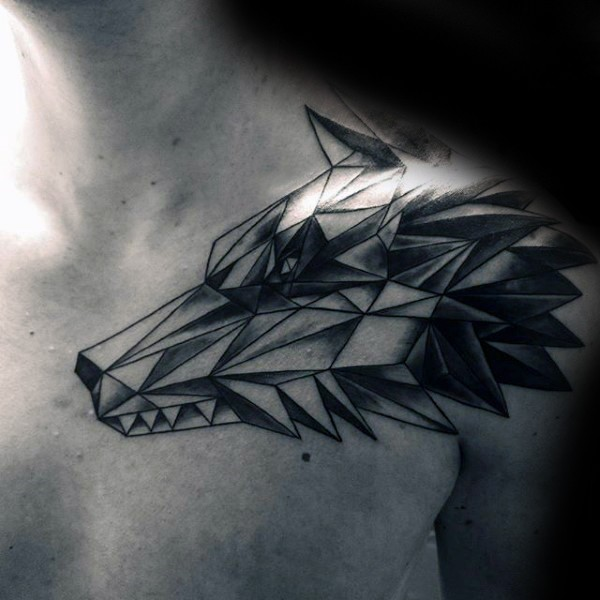 Geometrical style black and white shoulder tattoo of wolf head