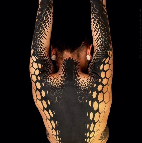 Geometrical style black ink back and sleeve tattoo