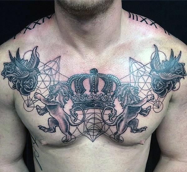 Geometrical style black ink chest tattoo of family crest with lions - Tatouage veni vidi vici ...