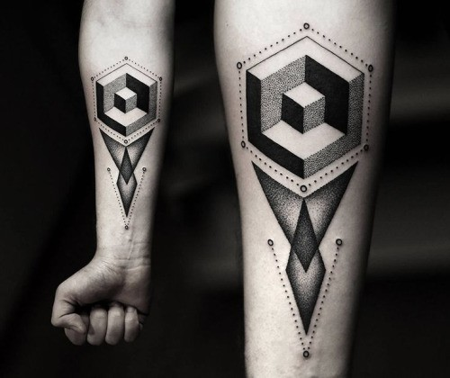 Geometrical style black ink forearm tattoo of various figures