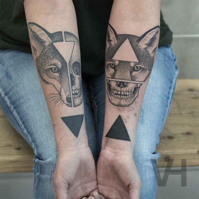 Geometrical style black ink forearms tattoo by Valentin Hirsch