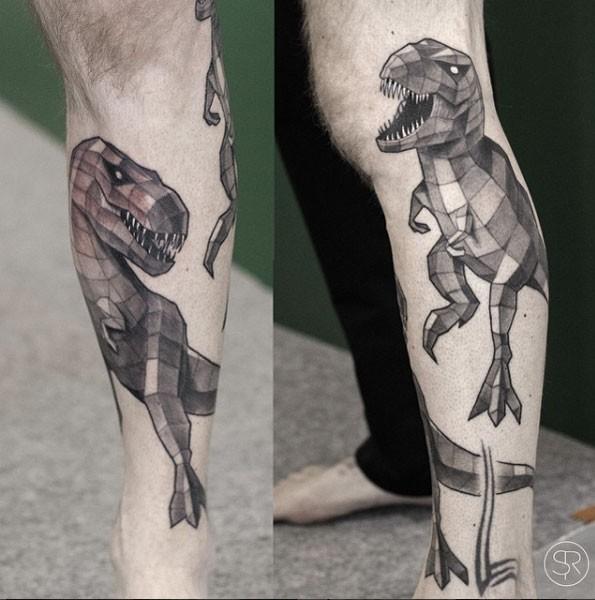 Geometrical style black ink leg tattoo of evil dinosaurs