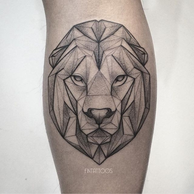 Geometrical style black ink tattoo of lion head