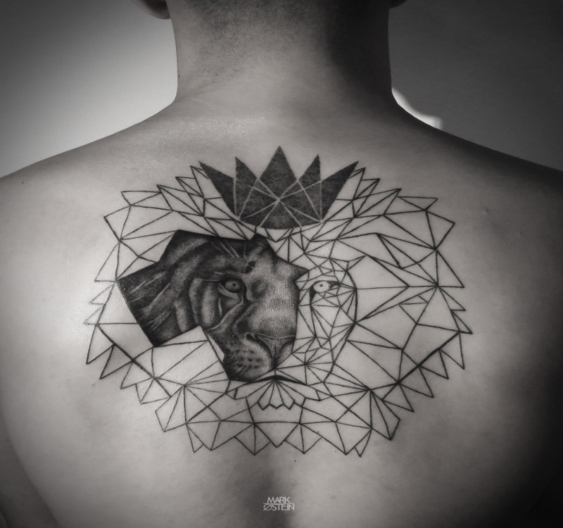 Geometrical style black ink upper back tattoo of lion portrait with various figures