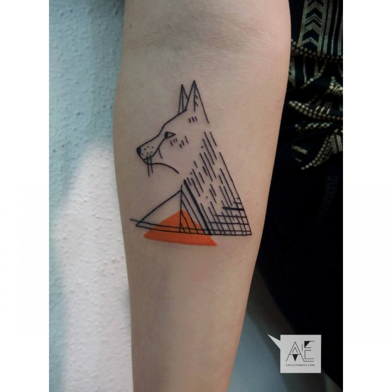 Geometrical style colored forearm tattoo of wolf with triangles