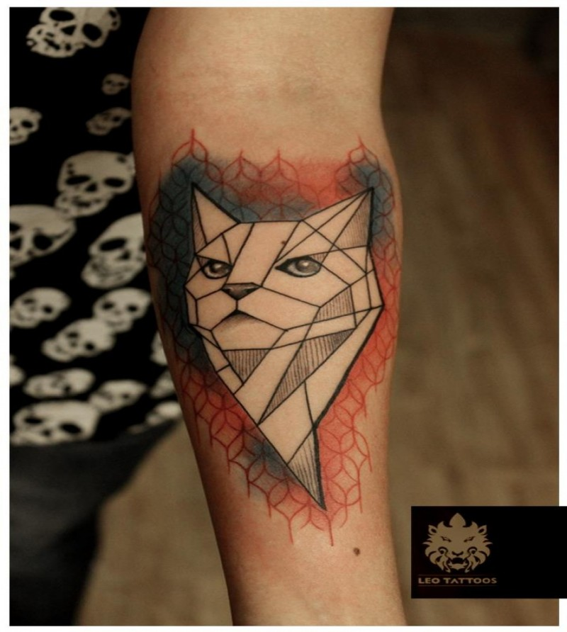 Geometrical style colored forearm tattoo of cat statue