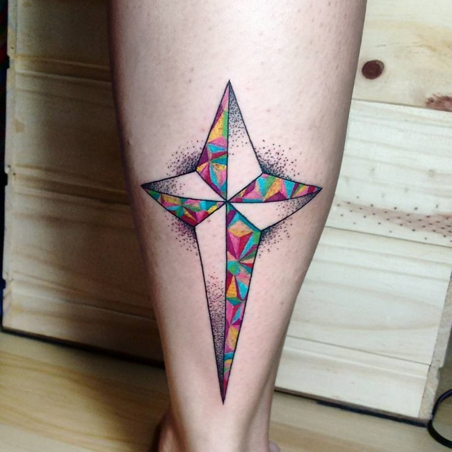 Geometrical style colored leg tattoo of beautiful star
