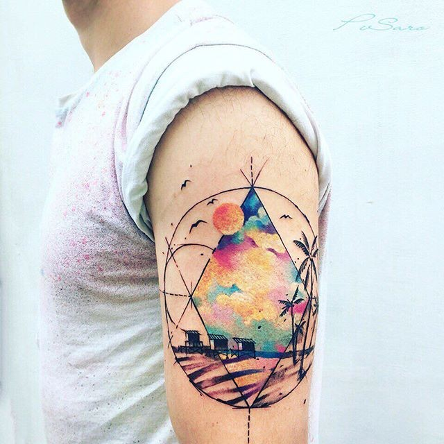 Geometrical style colored shoulder tattoo of various ornaments