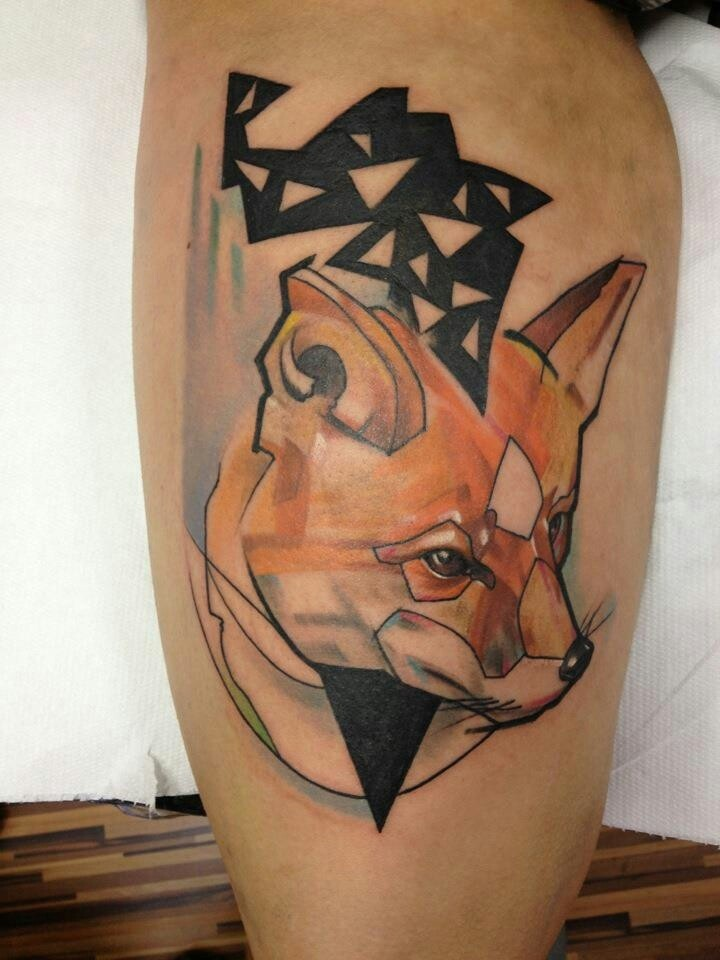 Geometrical style colored tattoo of fox