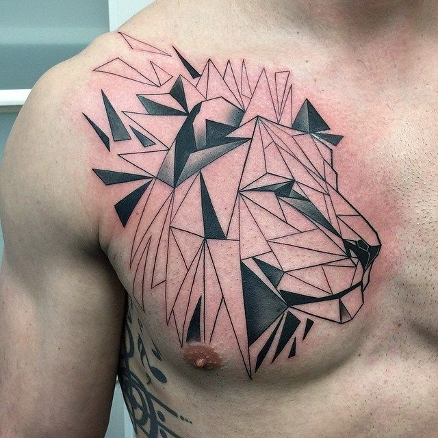 Geometrical style detailed chest tattoo of lion head