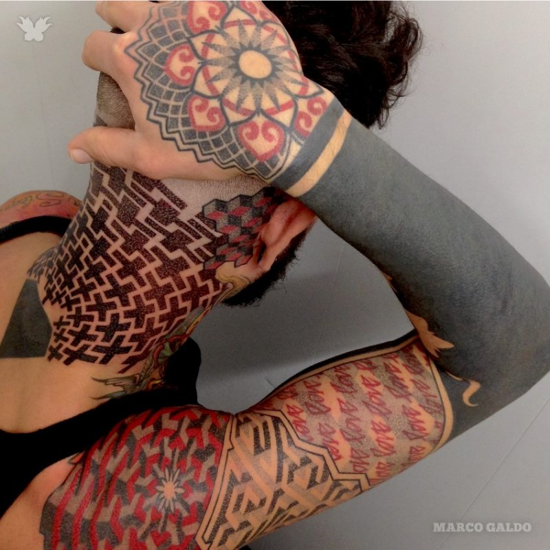 Geometrical style incredible looking colored sleeve and neck tattoo of various figures