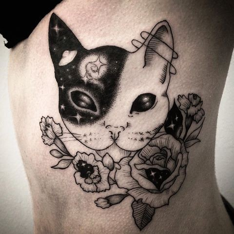 Ghost like black ink dot style side tattoo of amazing cat with stars and flowers