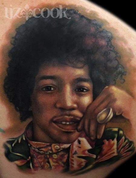 Giant colored young Jimi Hendriks portrait tattoo in realism style