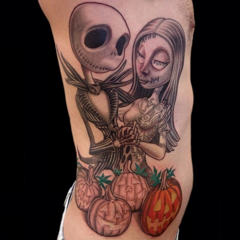 Giant Jack Skellington and Sally in love cartoon couple side colored tattoo with Halloween pumpkins