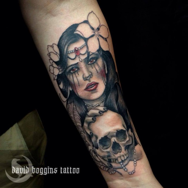Girl with a skull tattoo by David-Boggins