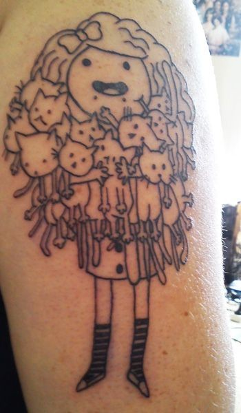 Girl with cats in hands tattoo