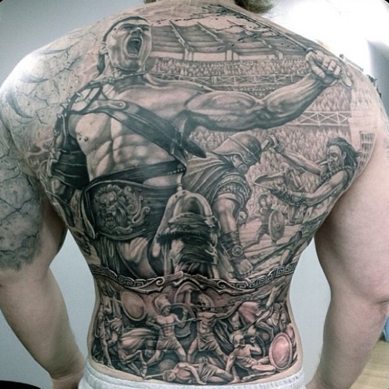 Glorious antic Greece times gladiators fights tattoo on whole back area