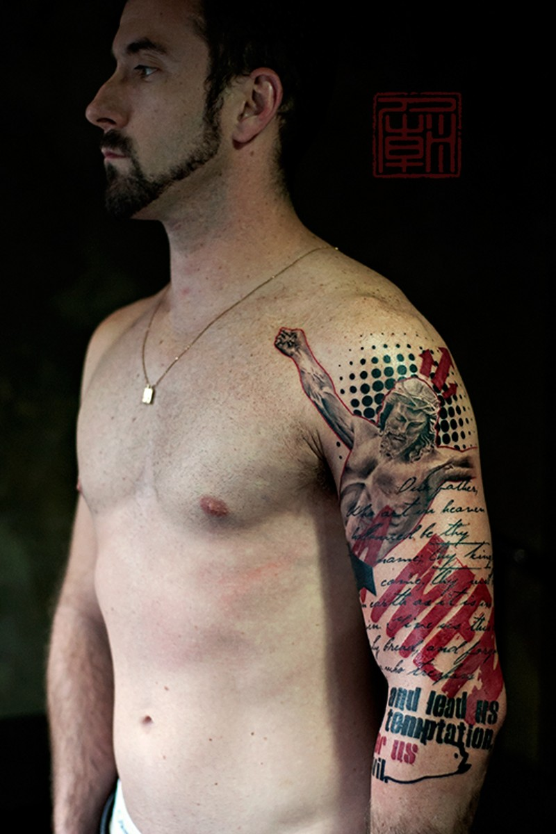 Glorious modern style colored shoulder tattoo of Jesus with lettering