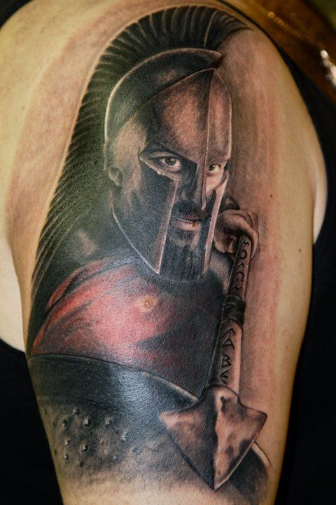 Gorgeous 3D realistic naturally colored Spartan&quots warrior with shield and spear shoulder tattoo