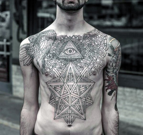 Gorgeous black and white cult tattoo on whole chest