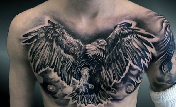 Gorgeous black and white detailed flying eagle tattoo on chest