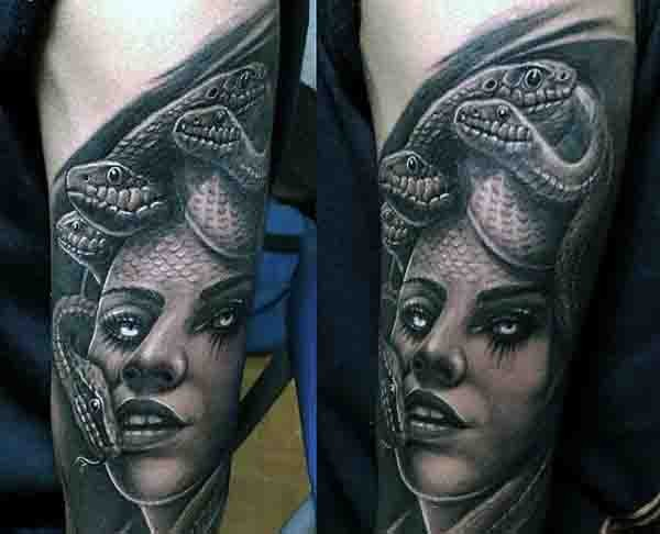 Gorgeous black and white detailed Medusa tattoo on arm