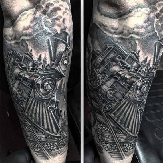 Gorgeous black and white western train tattoo on arm