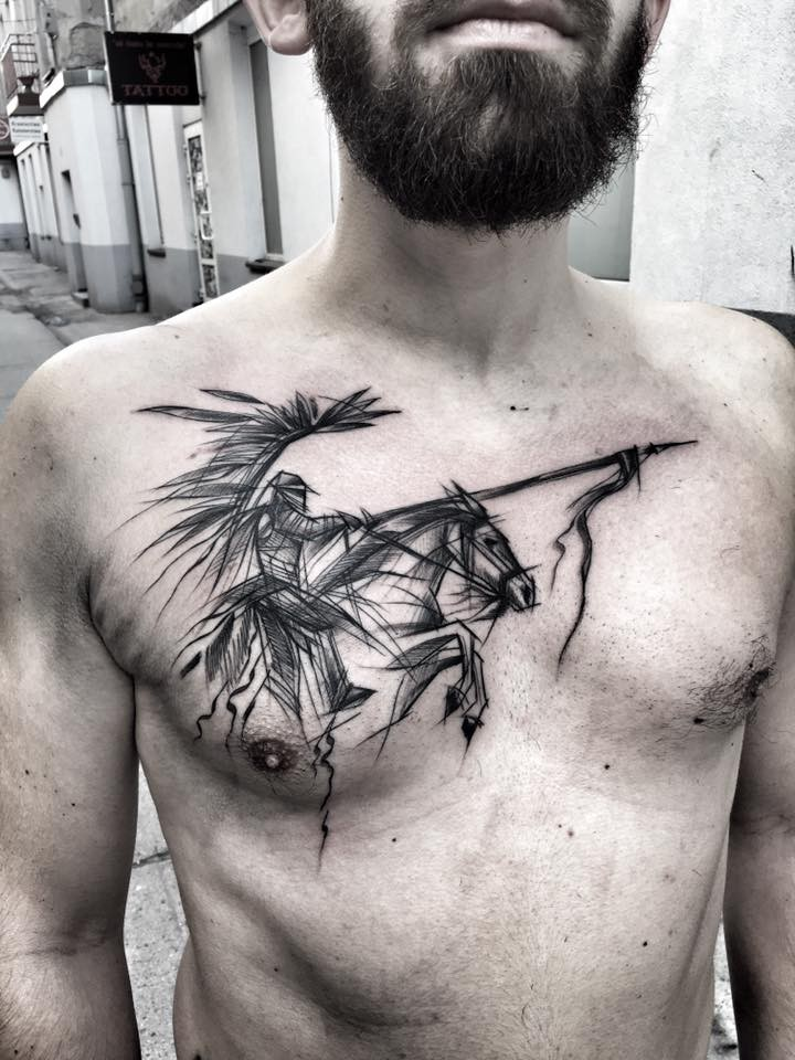 Gorgeous black ink chest tattoo of Asian horse rider