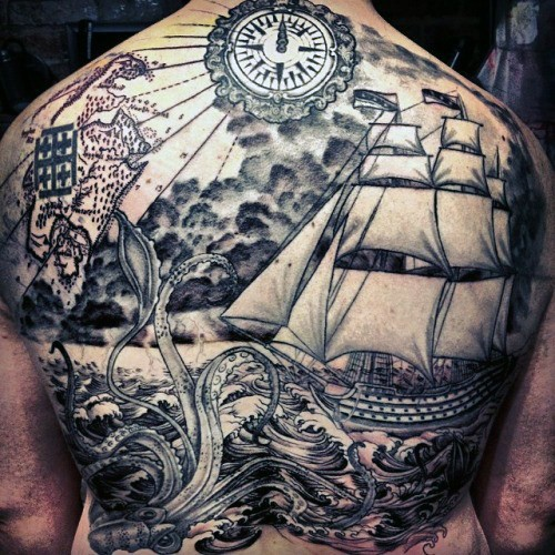 Gorgeous black ink detailed nautical tattoo with squid and ship on whole back