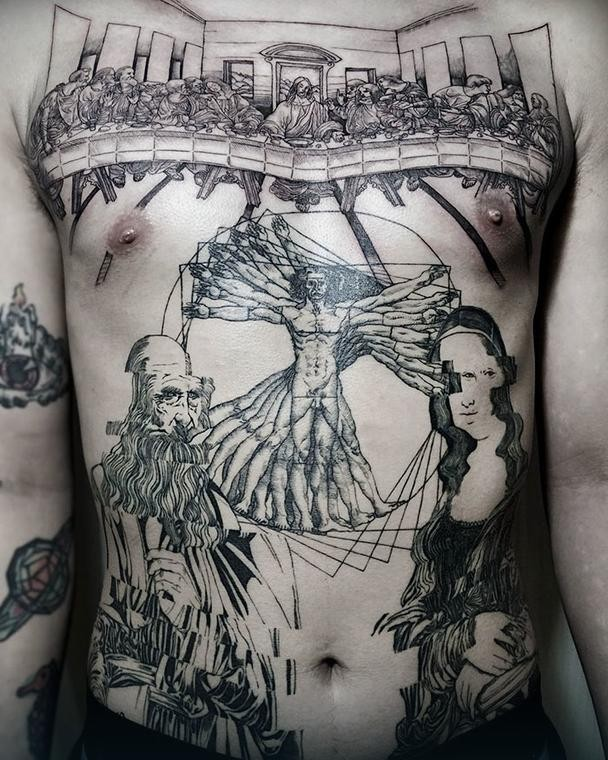 Gorgeous black ink whole back tattoo of Da Vincies art pictures