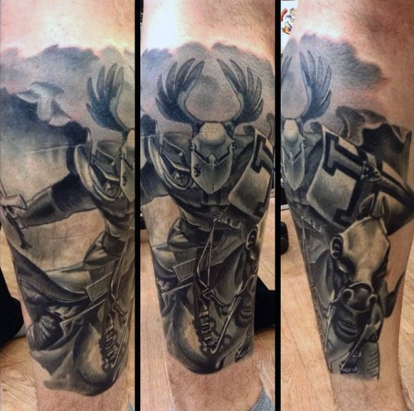 Gorgeous cartoon like fantasy knight horse rider tattoo on leg