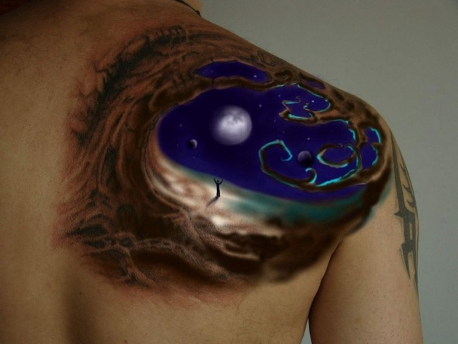 Gorgeous designed colored shoulder tattoo of big tree with night sky
