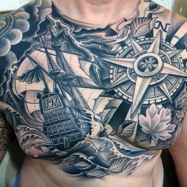 mozzafiato disegno massiccio nero e bianco a tema nautica tatuaggio su petto