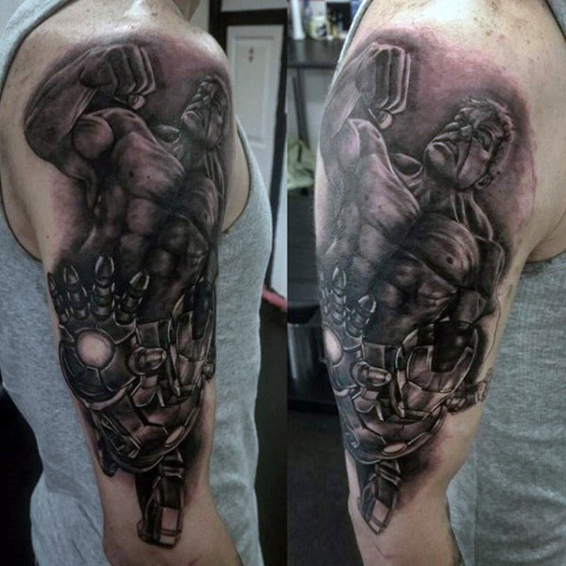 Gorgeous detailed shoulder tattoo of various Marvel comic books heroes