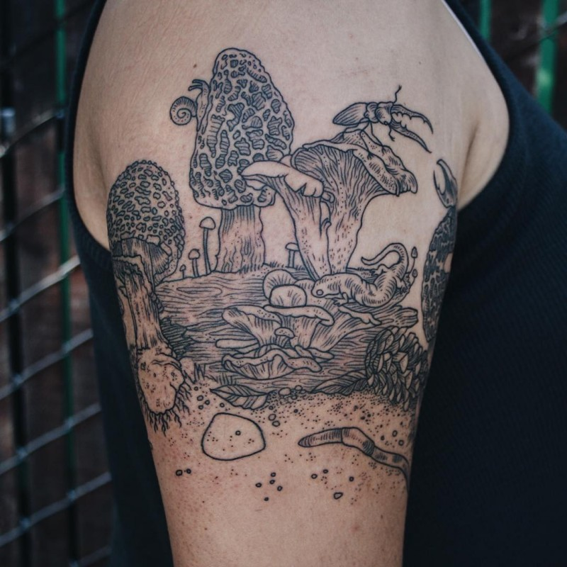 Gorgeous engraving style black ink shoulder tattoo of mushrooms with various bugs and lizards